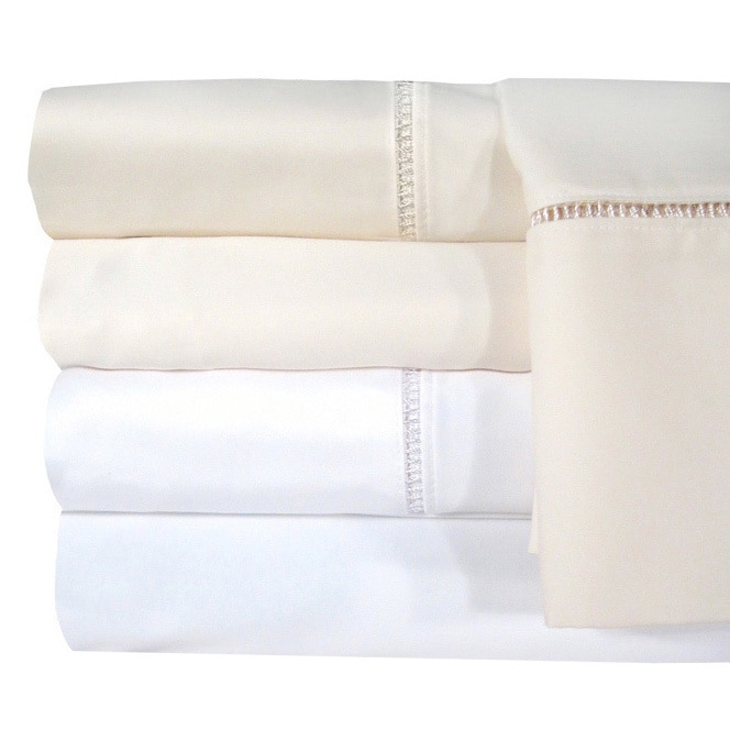 Grand Luxe Veratex Egyptian Cotton Linford Hemstitch 1200 Thread Count Sheet Separates (King Fitted Ivory), Beige Off-White