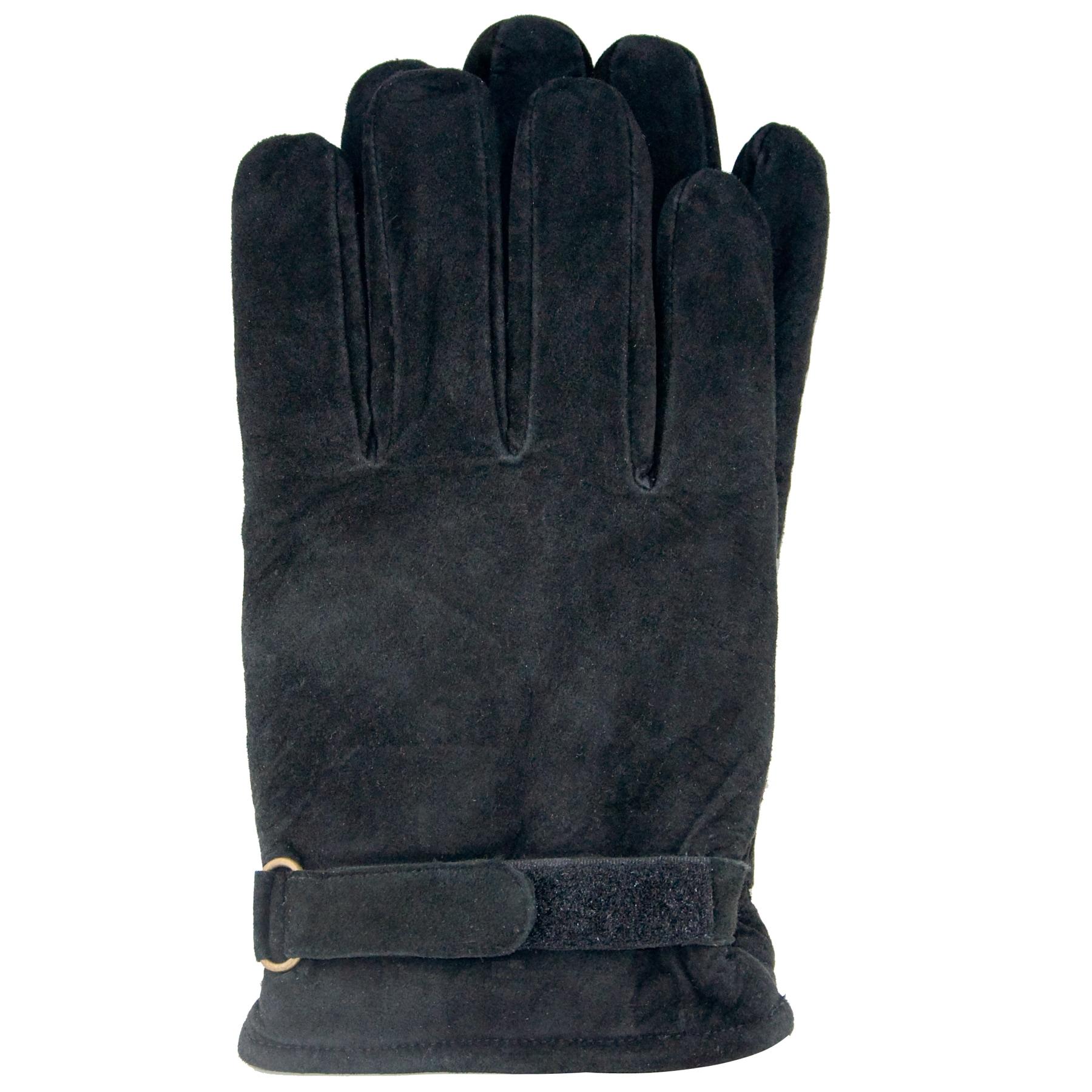 Isotoner Men's Black Extra Large Suede Gloves