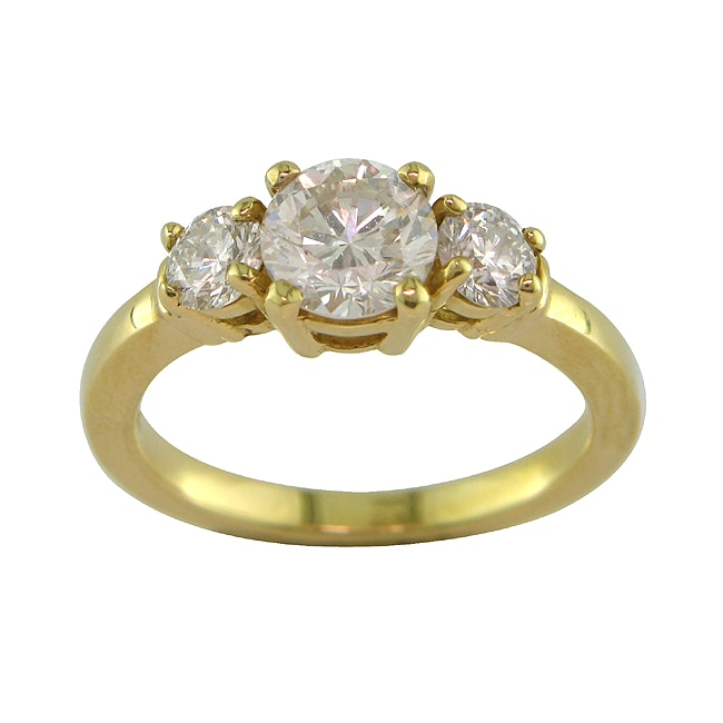 14k Gold 1 2/5ct TDW Certified Clarity-enhanced 3-stone Diamond Ring (H-I, SI2)
