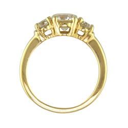 14k Gold 1 2/5ct TDW Certified Clarity-enhanced 3-stone Diamond Ring (H-I, SI2) - Thumbnail 1