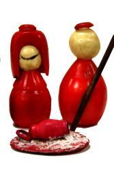 Global Handmade Hope Red Tagua Nut Nativity Decor (Colombia)
