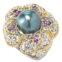 Michael Valitutti Two-tone Peacock Pearl, Amethyst and Pink Sapphire Ring (9-10 mm)