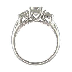 14k White Gold 1 5/8ct TDW Certified Clarity-enhanced 3-stone Diamond Ring (F-G, SI3) - Thumbnail 1