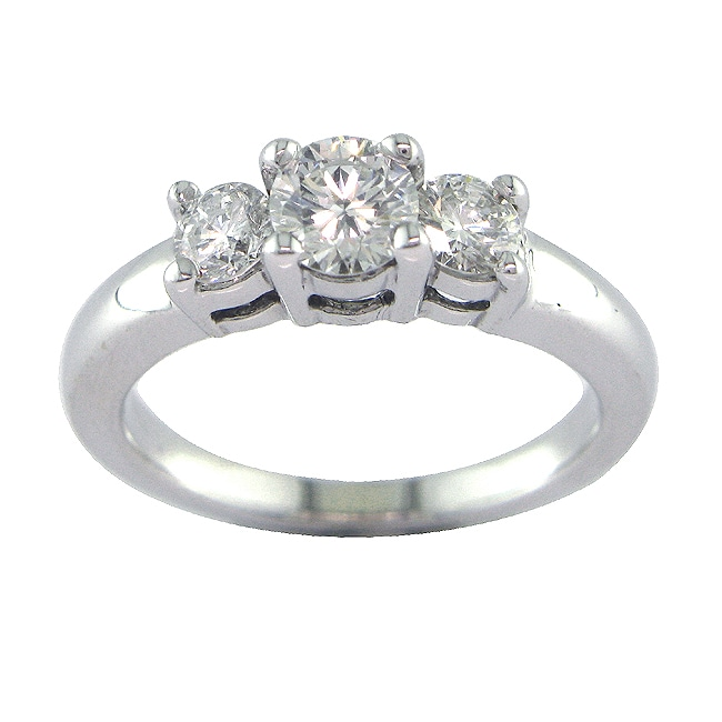 14k White Gold 7/8ct TDW Certified Clarity-enhanced 3-stone Diamond Ring (F-G, SI2) - Thumbnail 0