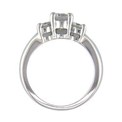 14k White Gold 7/8ct TDW Certified Clarity-enhanced 3-stone Diamond Ring (F-G, SI2) - Thumbnail 1