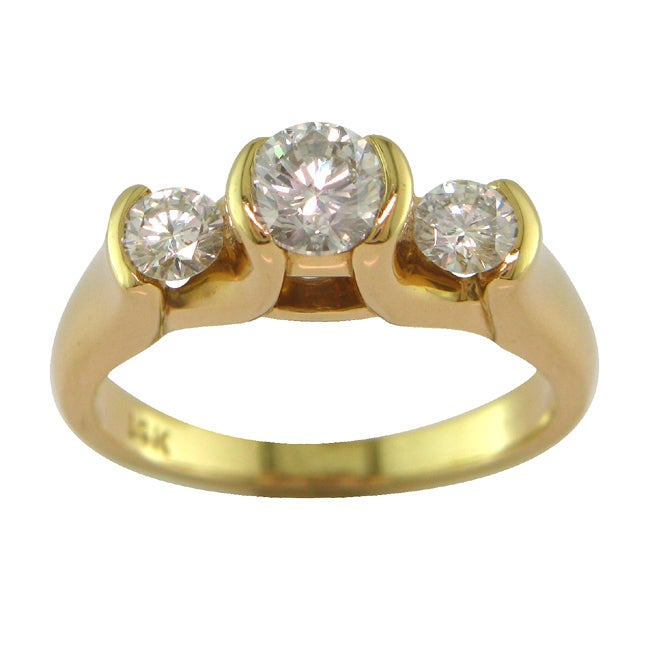 14k Yellow Gold 1ct TDW Certified Clarity-enhanced 3-stone Diamond Ring (D-E, SI1)