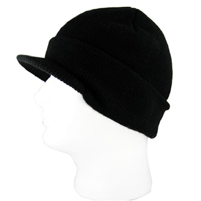 H2W Black Stretch Knit Unisex Visor Beanie