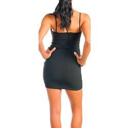 Stanzino Women's Black Sleeveless Tube Party Dress