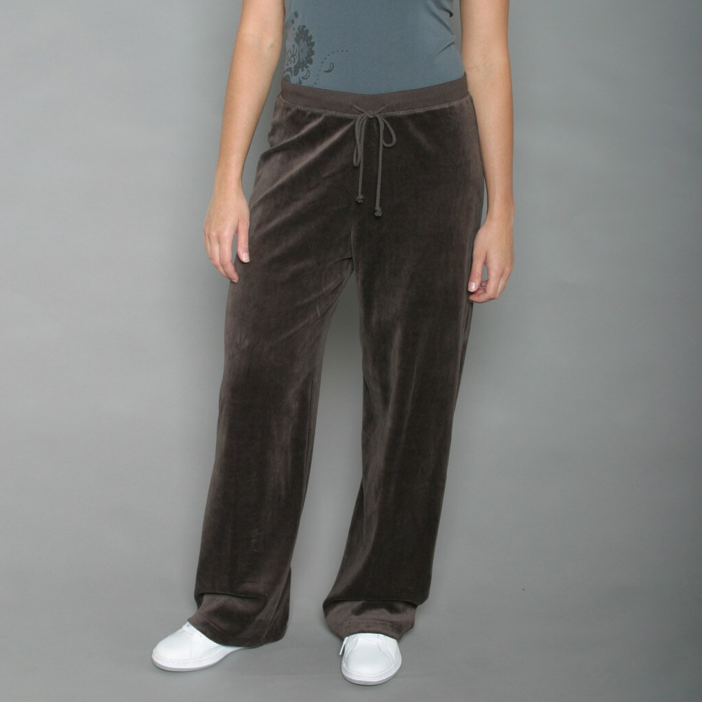 Ellen Tracy Women's Espresso Velour Track Pants