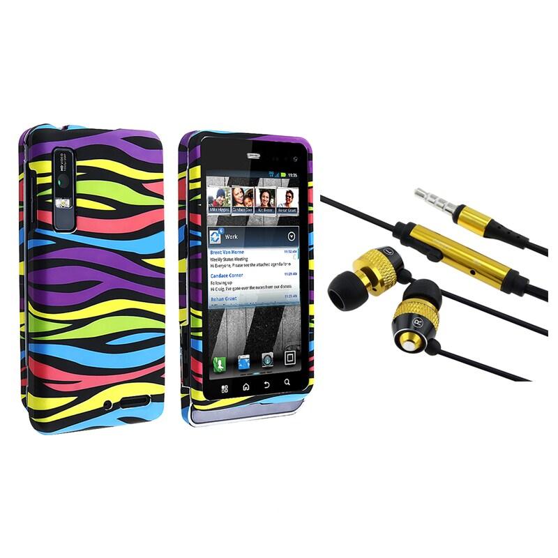 BasAcc Rainbow Zebra Case/ Yellow Headset for Motorola Droid 3 XT862