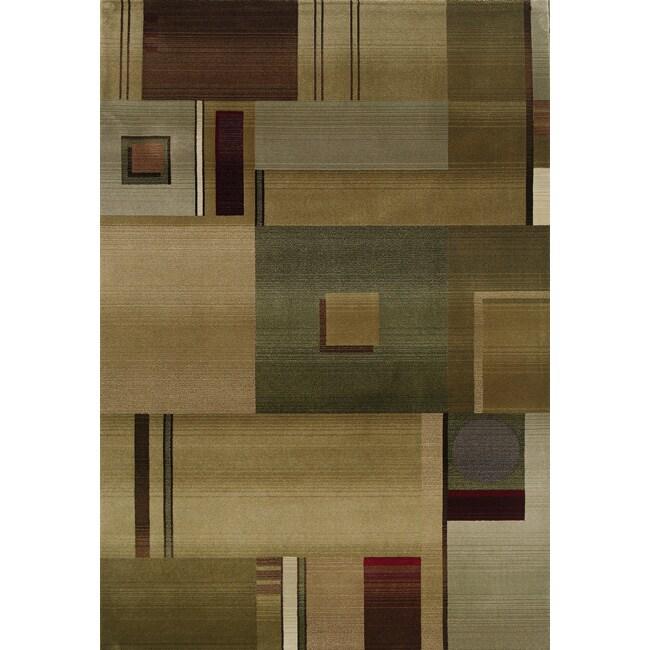 Baldwin Green/Red Contemporary Area Rug (9'9 x 12'2)
