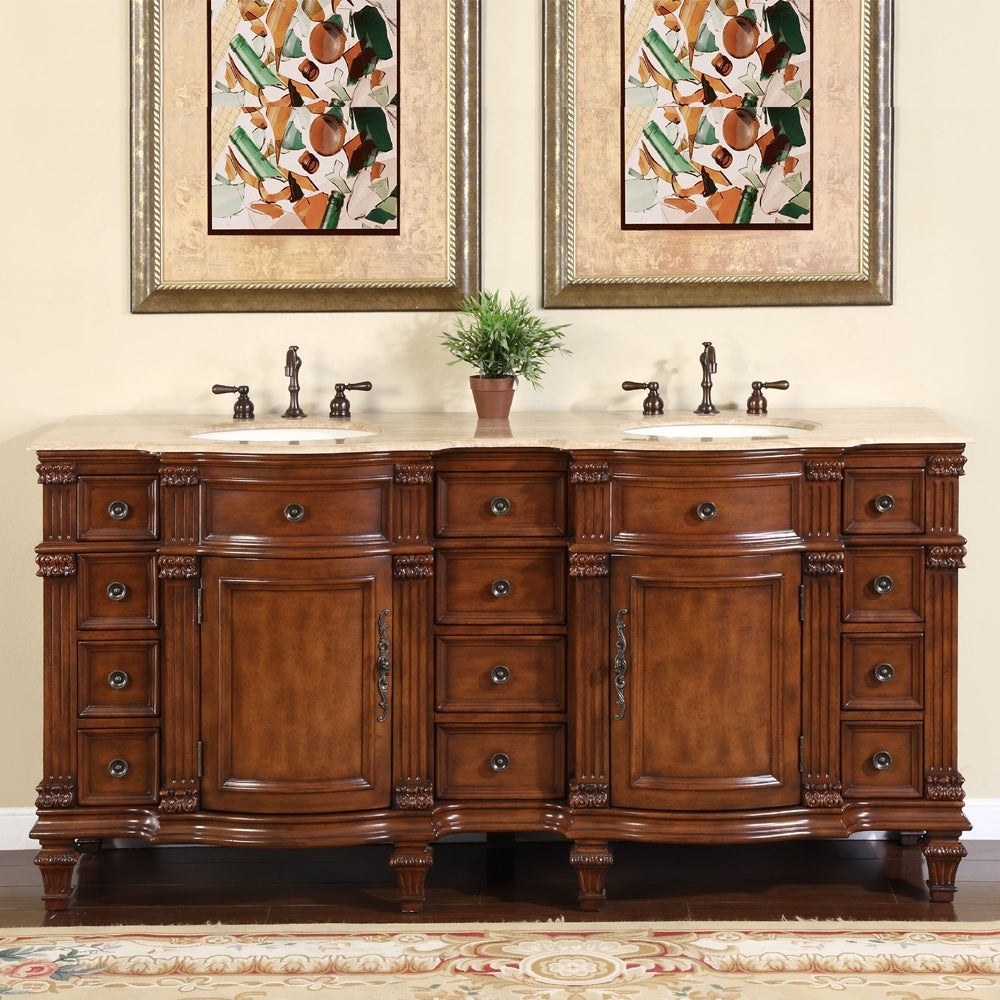Silkroad exclusive travertine stone top bathroom double for Vanity top cabinet