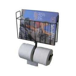Metal Magazine Rack with Toilet Tissue Dispenser - Thumbnail 1