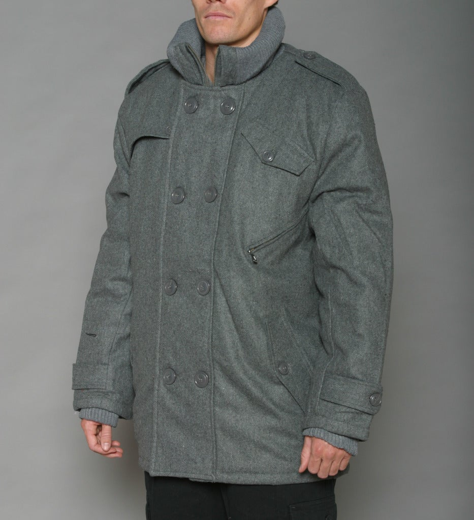 Trust Men&39s Heather Grey Wool-blend Double-breasted Peacoat - Free