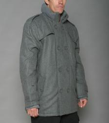 Trust Men's Heather Grey Wool-blend Double-breasted Peacoat - Free ...