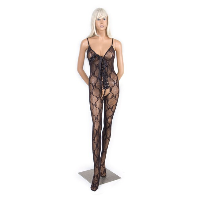 a39ec578e Shop Hustler Womens Black Lace-up Crotchless Bodystocking - Free Shipping  On Orders Over  45 - Overstock - 6304928