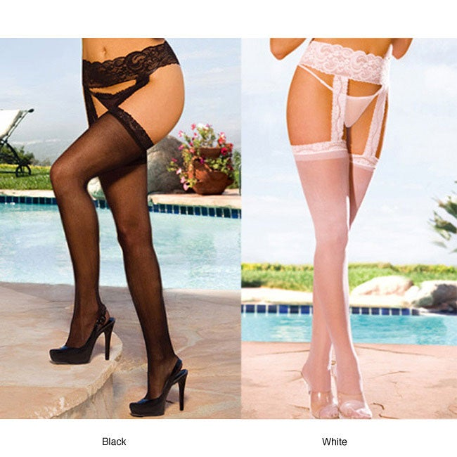 1931573d5f6 Shop Emaje  Women s Sheer Lace Top Garter Belts (Set of 2) - Free Shipping  On Orders Over  45 - Overstock - 6305054