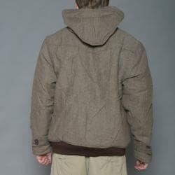 Imperious Men's Khaki/Brown Herringbone Wool-blend Hooded Jacket