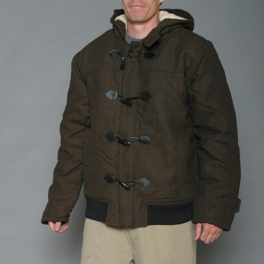 Shop Imperious Men S Black Brown Herringbone Wool Blend Jacket