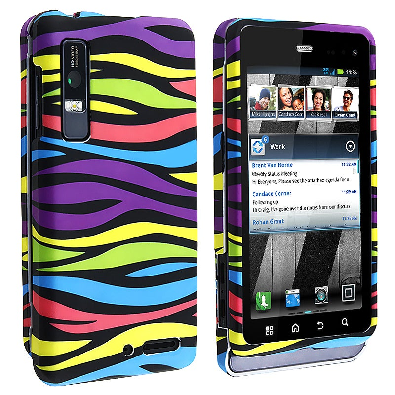 Rainbow Zebra Snap-on Rubber Coated Case for Motorola Droid 3 XT862