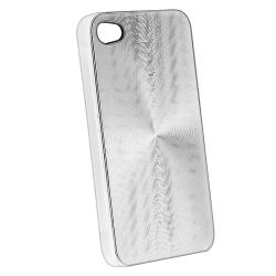 Silver Aluminum Rear Snap-on Case for Apple iPhone 4 AT&T/ Verizon - Thumbnail 1