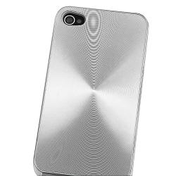 Silver Aluminum Rear Snap-on Case for Apple iPhone 4 AT&T/ Verizon - Thumbnail 2