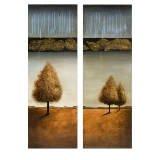 Set of 2 'Fall Hozion' Oil-on-Canvas Wall Art