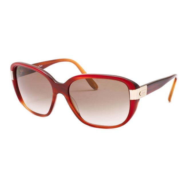 Chloe Women's 'Sally' Dark Red Horn Fashion Sunglasses