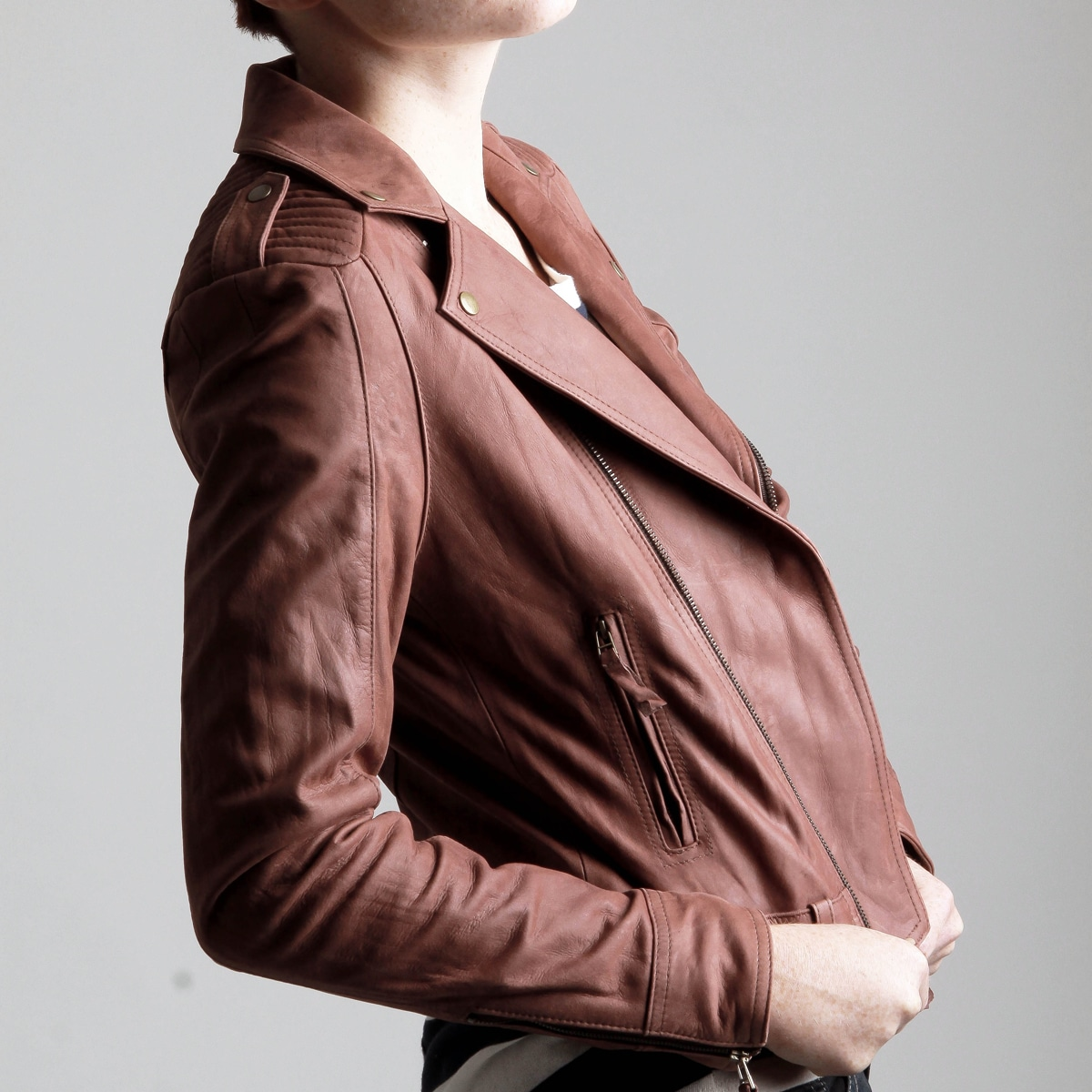 United Face Women's Vintage-inspired Textured Leather Moto Jacket