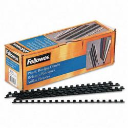 "Fellowes Plastic Combs - Round Back, 1/4"", 20 sheets, Black, 100 pk"