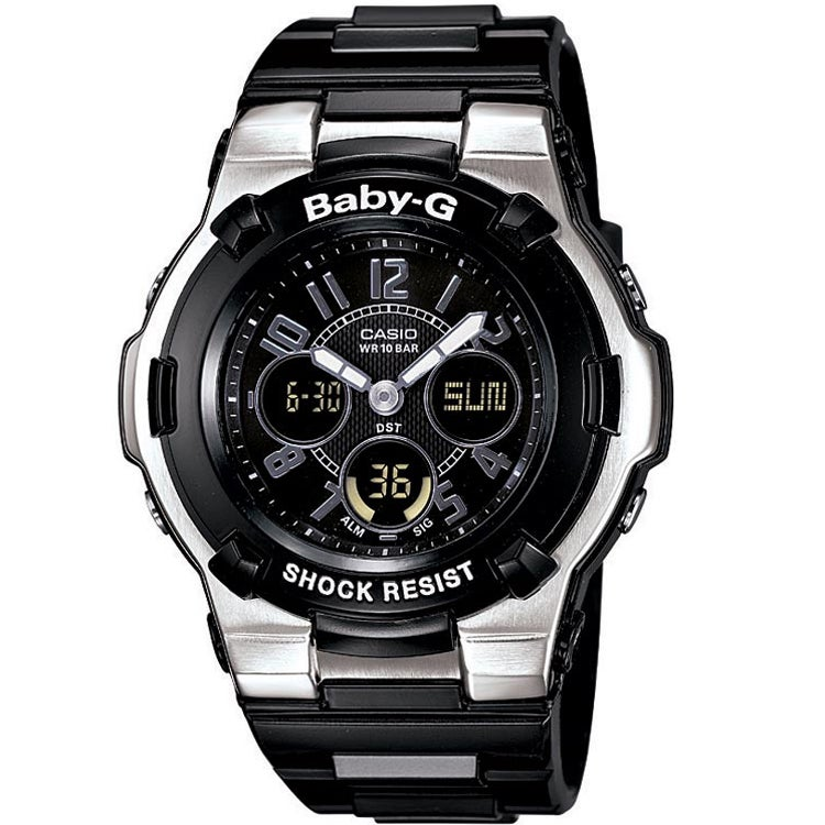 c79ae297c9334 Shop Casio Women s  Baby-G  Shock Resistant Black  Silver Sport Watch -  Free Shipping Today - Overstock - 6308030