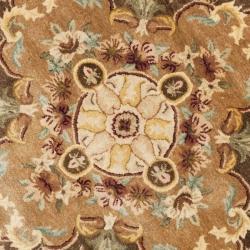 Safavieh Handmade Aubusson Creteil Brown/ Beige Wool Rug (3'6 Round)