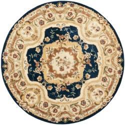 Safavieh Handmade Aubusson Plaisir Navy/ Beige Wool Rug (8' Round)