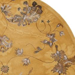 Safavieh Handmade Silk Road Gold New Zealand Wool/ Viscose Rug (6' Round)
