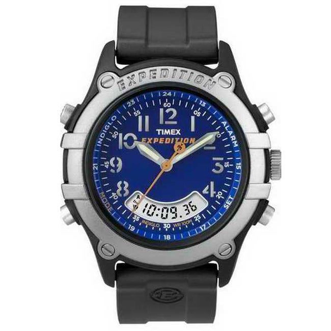 fad1490d579b Shop Timex Men s Blue Dial Chronograph Expedition Indiglo Black Resin Watch  - Free Shipping On Orders Over  45 - Overstock - 6308526