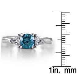 14k White Gold 1 3/4ct TDW Blue and White Diamond Ring (G-H, I1-I2) - Thumbnail 2