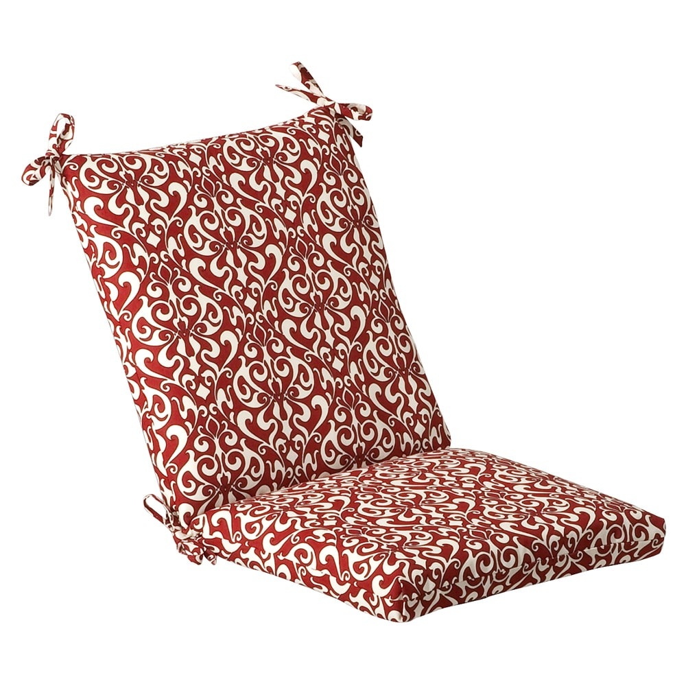 Pillow Perfect Outdoor Red/ White Damask Square Chair Cushion