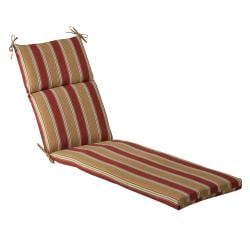Pillow Perfect Outdoor Red/ Gold Striped Chaise Lounge Cushion