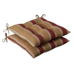 Pillow Perfect Outdoor Red/ Gold Stripe Tufted Seat Cushions (Set of 2)