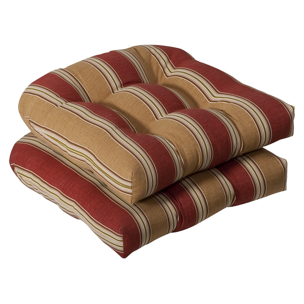 Pillow Perfect Outdoor Red/ Gold Striped Seat Cushions (Set of 2)