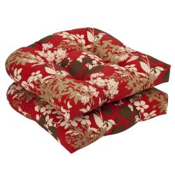 Pillow Perfect Outdoor Red/ Brown Floral Seat Cushions (Set of 2) - Thumbnail 0