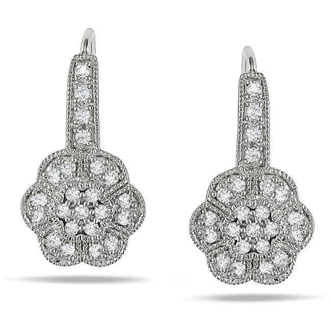 14k White Gold 1/3ct TDW Diamond Flower Earrings