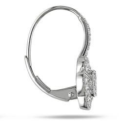 14k White Gold 1/3ct TDW Diamond Flower Earrings - Thumbnail 1