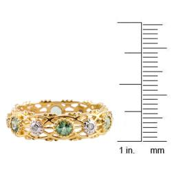 Michael Valitutti 14k Gold Green Apatite and Diamond Eternity Ring