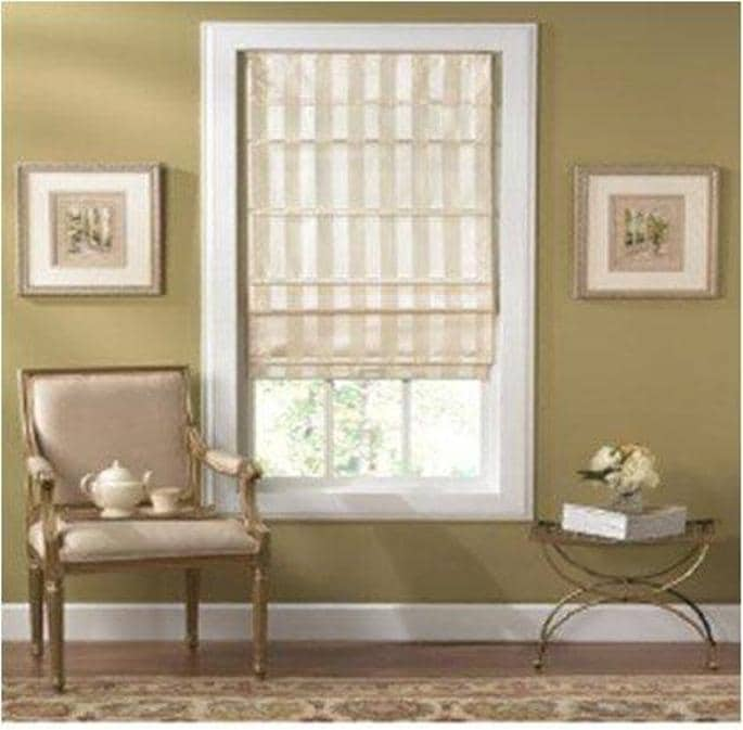 Cordless Off-white Striped Fabric Roman Shade (27in x 72in) - Thumbnail 0
