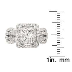 Montebello 14k White Gold 4 2/5ct TDW Princess-cut Diamond Engagement Ring (H, I1)