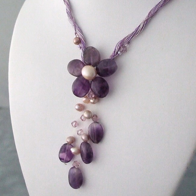 Pearl and Amethyst Flower Purple Necklace (3-9 mm)(Thailand)