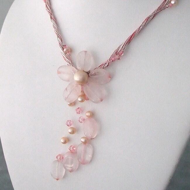 Rose Quartz Silk Thread Flower Necklace (3-5 mm)(Thailand)
