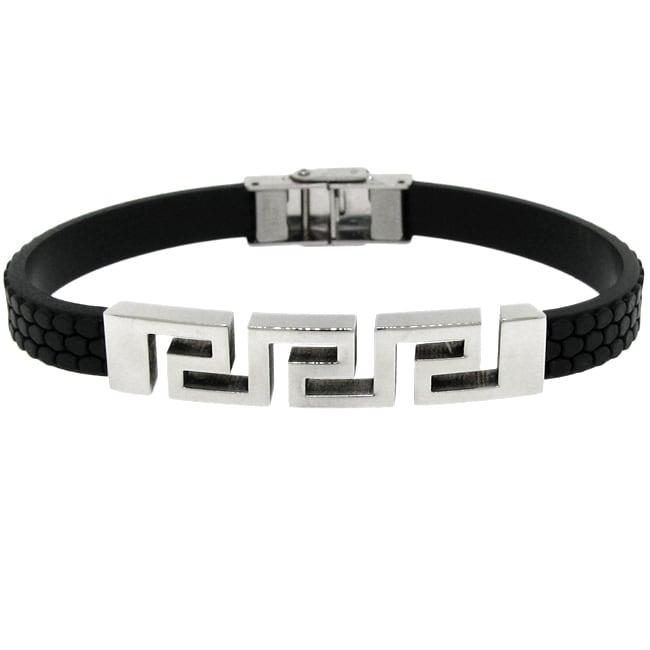 Stainless Steel and Black Rubber Men's Greek Key Bracelet