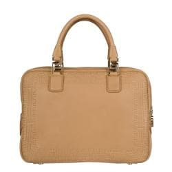 Versace Beige Leather Perforated Satchel - Thumbnail 2